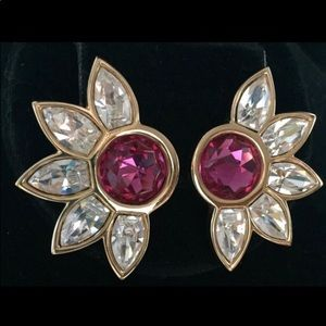 Large Bright Fuchsia Crystal Rhinestone Earrings